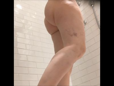 wife&#039,s unaware ass in shower - 2 angles