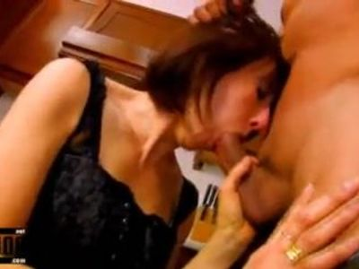 Mature housewife ass fucked in the kitchen and facial cumsho
