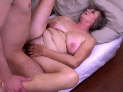 Grandma gets young cock for hairy old cunt