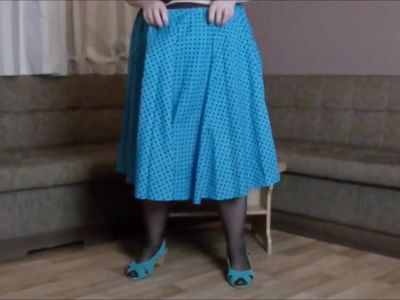 playing in my flared blue skirt