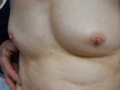 wife&#039,s small tits and spread hairy pussy and swollen clit