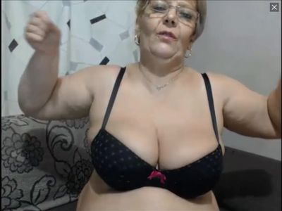 Fat granny tries to flex her big biceps
