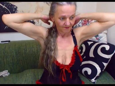 Nasty Russian granny pops her hard little biceps