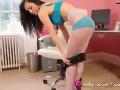 Emma glover strips in office