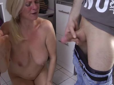 german mature gets dp`ed and drinks beer