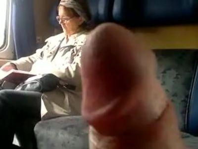 Mature reads - train flasher cums!