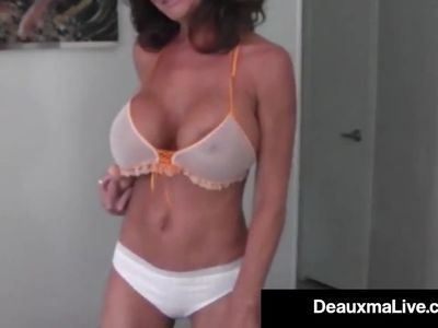 Hot Cougar Deauxma Dildo Fucks Her Pussy &amp, Squirts!