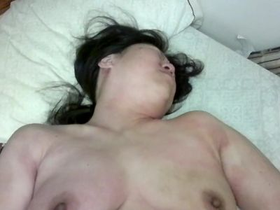 Asian mature lady masturbation, shaved pussy
