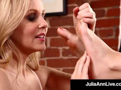 Hottest Milf Julia Ann &amp, Kimberly Kane Worship Their Feet!