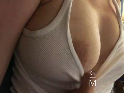 Playing With My Sleeping Step Mom's Huge Boobs, big MILF tits jiggle.