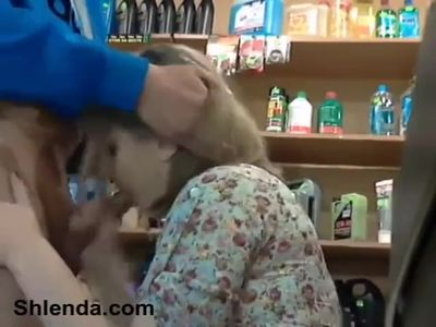 Blowjob at the store office. Young busty salesgirl and mature master