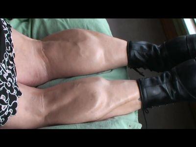 BBW wtih huge, muscular calves flexes for Mongo Big Calves photoshoot
