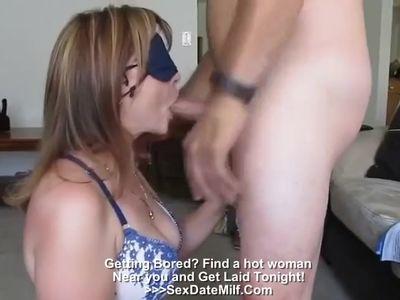 Wife sucks a stranger blindfolded