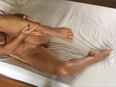 Paris squirming her amazing body in bed for Mongo Big Calves