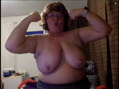 Hilarious MILF flexes her strong arms on cam