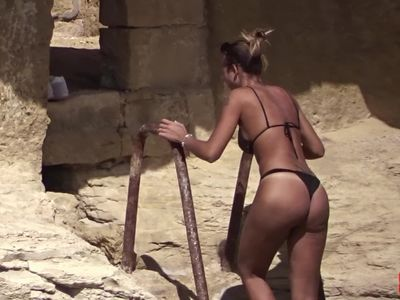 Sexy European girl on the rocks in Gozo