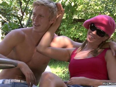 His busty mom and girl have fun outdoors