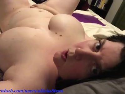 Busty MILF shows tits and touch her pussy on camera