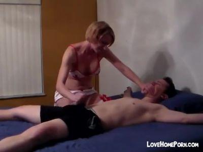 Handjob and Blowjob of a Tied Up Man
