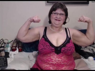 Nice BBW granny flexes her big arms on cam