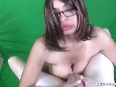 Horny Milf Titty Fucks Big Cock POV