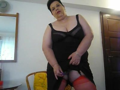 V in red stockings