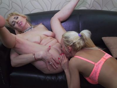 Amateur lesbians MILFs lick and fuck each other