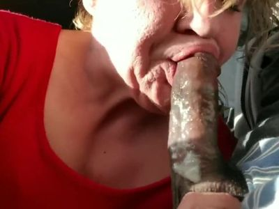 Old GILF gumming black dick and swallows