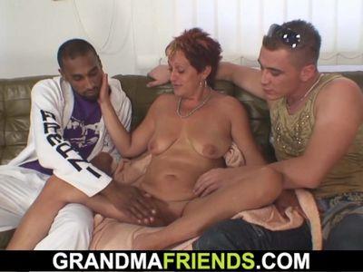 Interracial double penetration for granny