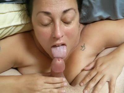 Mature Milf sucks my cock until I cum on her face