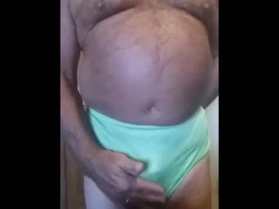 Panty wearing mature chub sissy masturbates and cums in his pretty panties