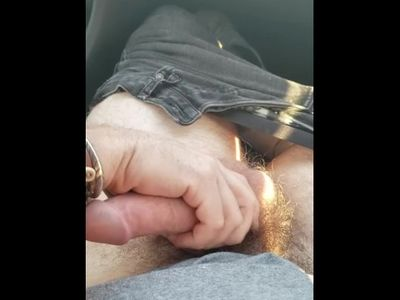 "Daddy driving ""dick shift"" and playing with pup's cock"