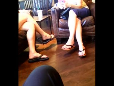 Candid Feet Two Matures In Flip Flops