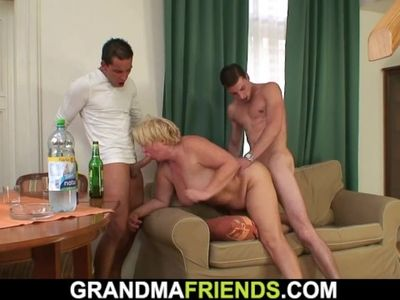 Two buddy pick up drunk busty old mature blonde