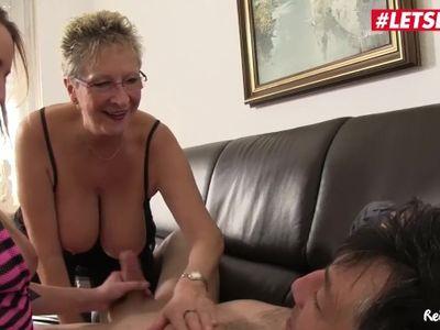 LETSDOEIT - Hot German GILF And Her Daughter Fuck Their Neighbor