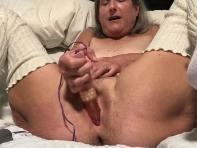 Tied Up Pussy Spread Wide Granny Milf Mature Dildo Masturbation