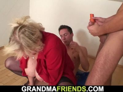 Big tits blonde grandma rides and sucks at same time