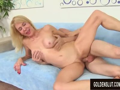 Younger Guy Pleasures Naughty Grandma Erica Lauren with Tongue and Cock