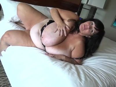 Suzie Q Mature BBW Plays with Her Huge Tits in a Hotel Room, Part 2
