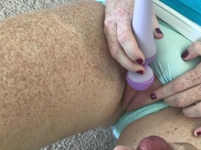Redhead pussy so tight he can hardly move so I get myself off cum on pussy