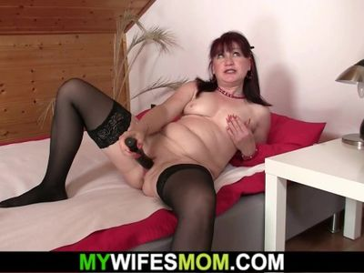 Brunette motherinlaw riding his cheating cock after pussy toying