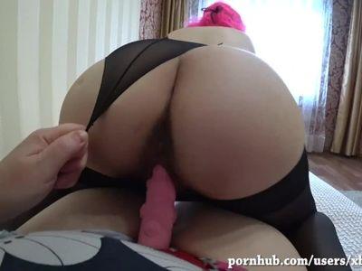 Milf fucks pregnant girlfriend with a strap-on. Big nipples. POV
