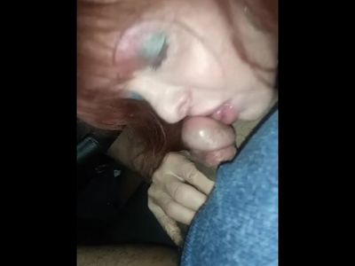 Delicious MAture Transexual blowjob in the car after party