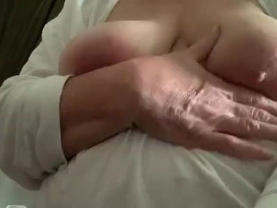 Breast play and rubbing in lotion