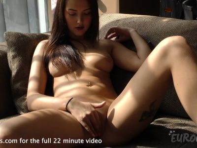 patricia back and masturbating on my couch with a nice blue dildo