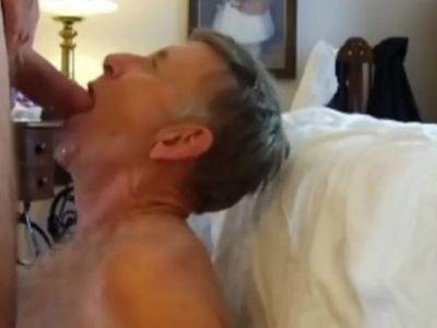 Mature Man Gagging on Friend's Cock -- cumshot
