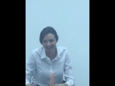 Sweet female teacher teaches students how to make a blowjob