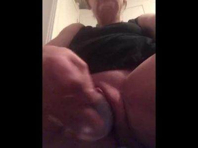 Mature milf fucks with dildo and squirts over camera