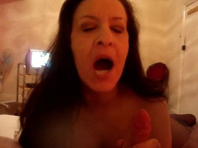 Mature English blowing bubbles with cum