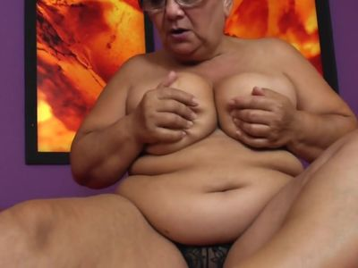 Granny Marietta fingering her hairy cunt and ass